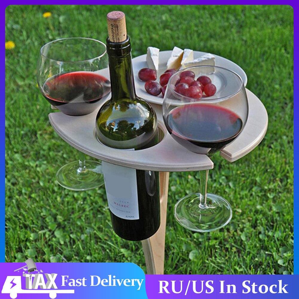 Mesa de vino portátil para exteriores, minipicnic de madera Plegable redondo, fácil...