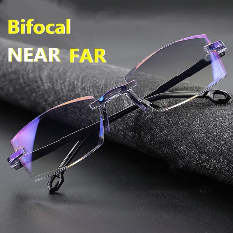 Masculino feminino sem aro óculos de leitura bifocal distante perto anti luz azul ampliação eyewear presbiopia óculos diopter + 150 + 200 Óculos de leitura    -
