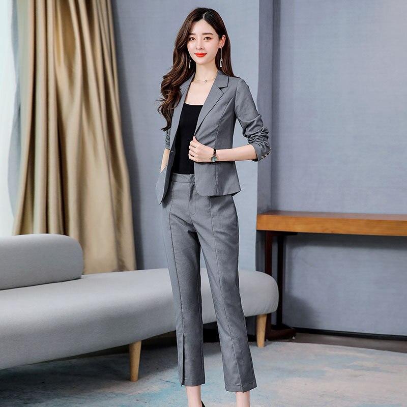 Traje de mujer primavera 2020 nueva chaqueta de traje de nueve puntos pantalones de dos piezas temperamento Delgado era delgado conjunto de ropa de mujer
