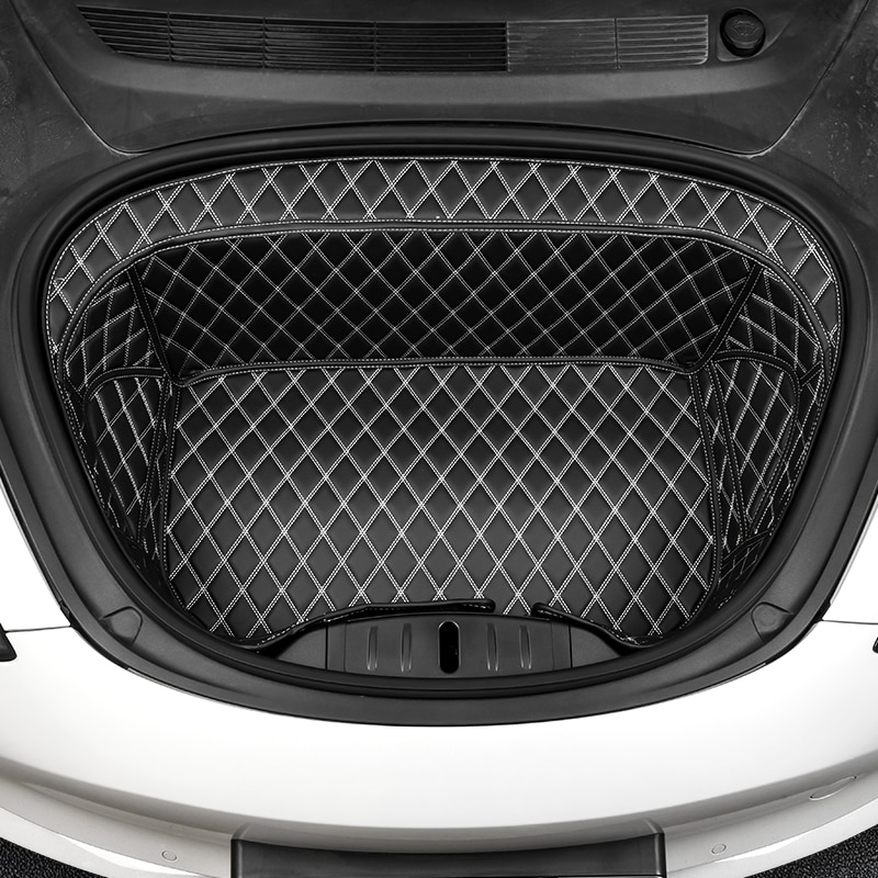 For Tesla 2021 Model 3 Wear-resistant Leather Dirt-resistant Pad Interior Accessories Cushion Car Front Storage Trunk Mat