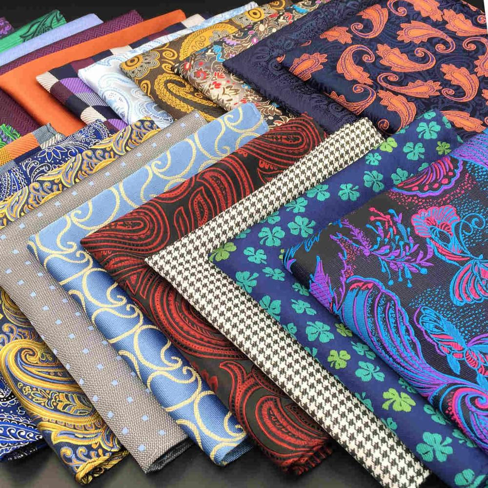 Pañuelo de seda Paisley Floral para hombre, pañuelo de seda a la moda cuadrada para novio, pañuelo de boda a la moda