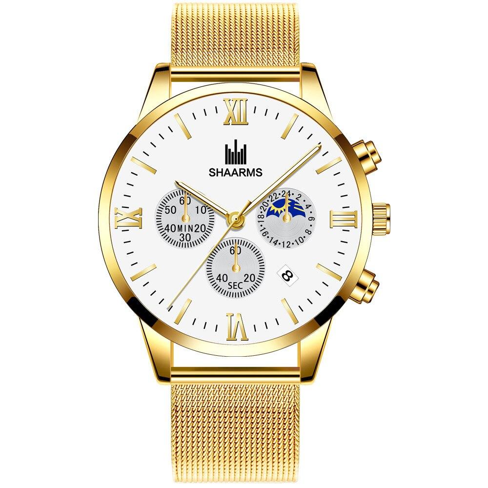 New Top Men Watches Male Calendar Stainless Steel Mesh Casual Quartz Watch Relogio Masculino Men's Business Wristwatch Clock Hot