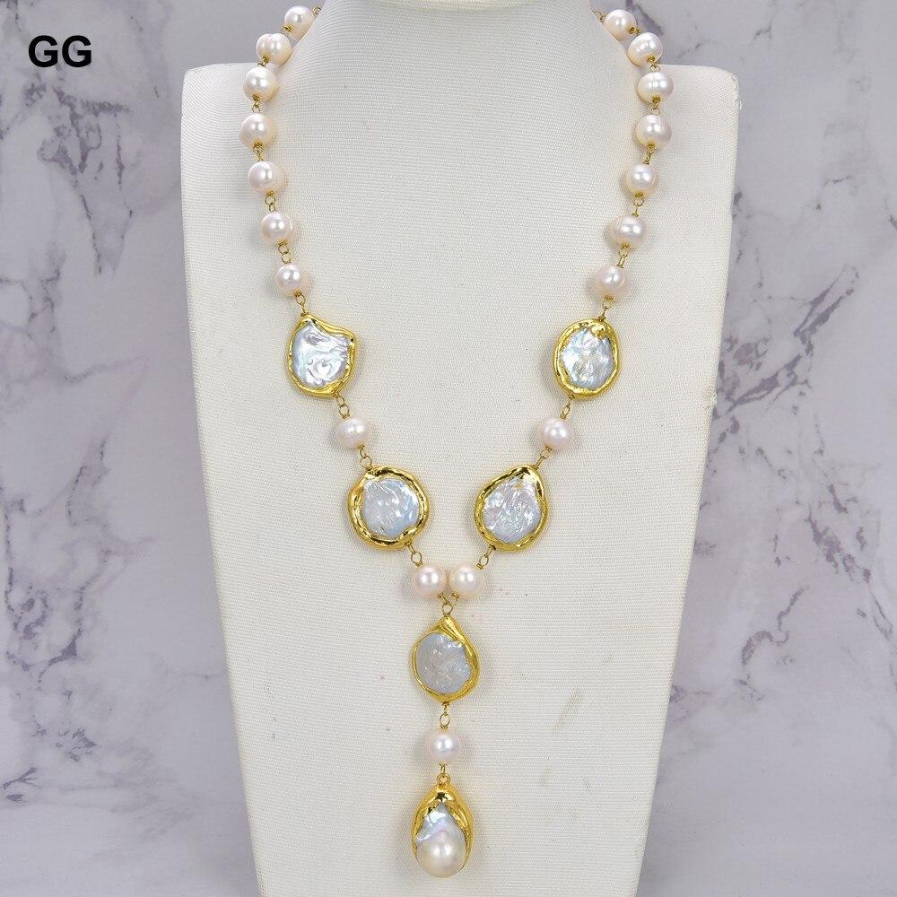 GG Jewelry-عقد من اللؤلؤ الأبيض على شكل عملة معدنية ، وقلادة من اللؤلؤ والبطاطس ، وقلادة من اللؤلؤ كيشي مقاس 20 بوصة