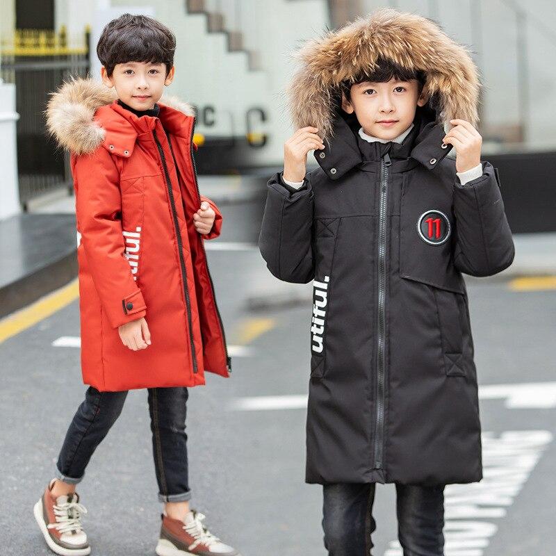 Winter Boys Parkas Cotton Outerwear Coats Fur Collar Hooded Long Jackets Coat For Boys Warm Children Clothes