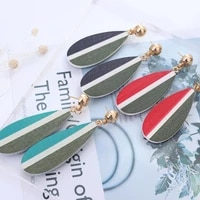new fashion leaf stud earring personality wooden long pendant earrings women beach travel exquisites jewelry gift