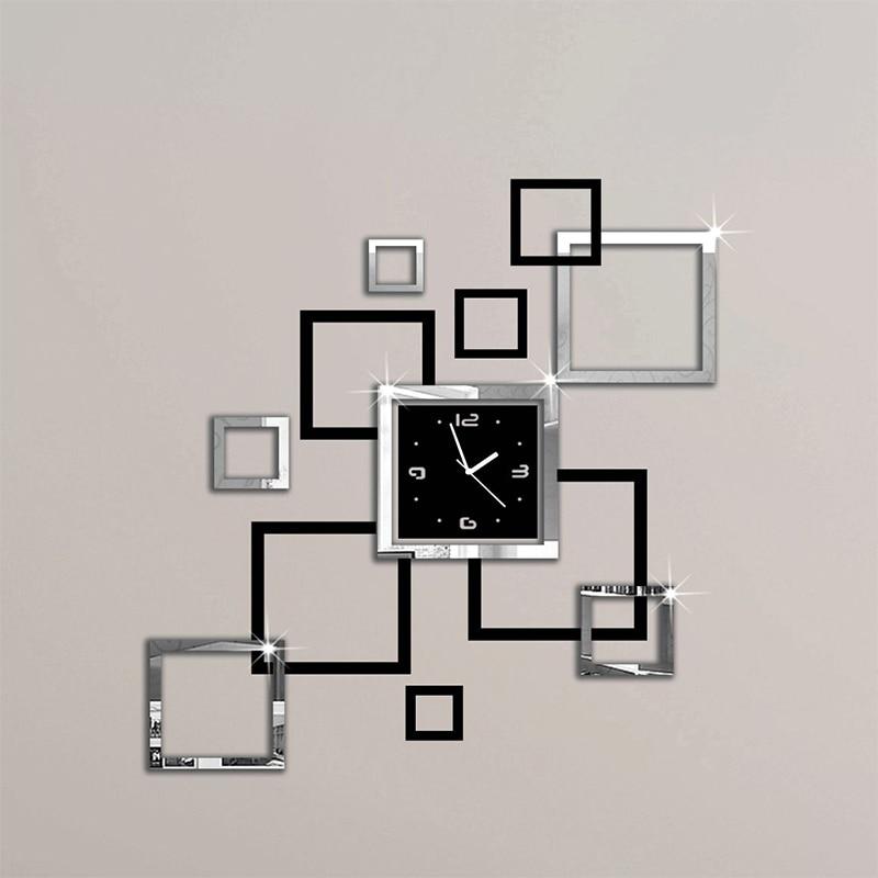 Nuevos Relojes de pared calientes 3d pegatina Europa moderna reloj de cuarzo diseño de plata y relojes negros arte