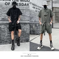 2021 summer new fashion american tooling jumpsuit mens loose casual shorts straight street hip hop one piece work clothes suit