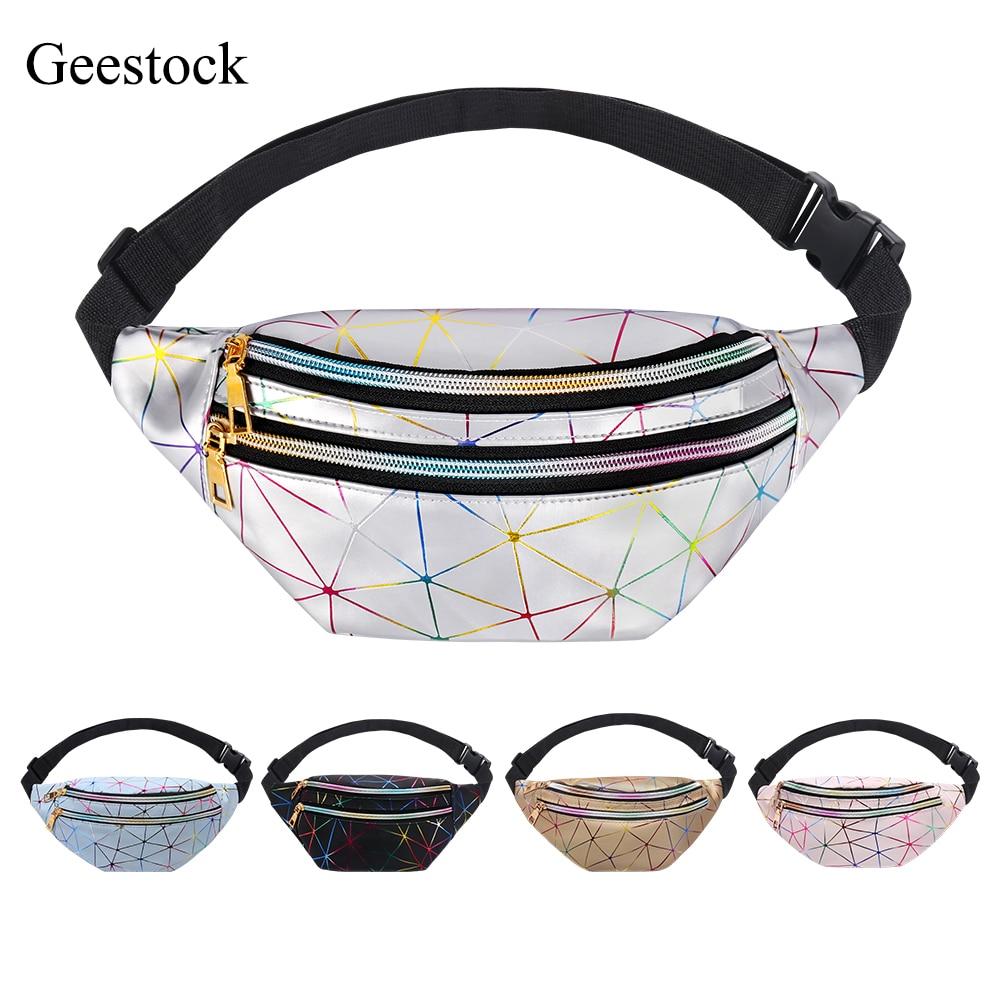 Geestock Holographic Waist Bag for Women Glitter Fanny Pack Waterproof Geometric Belt Bag Fashion La