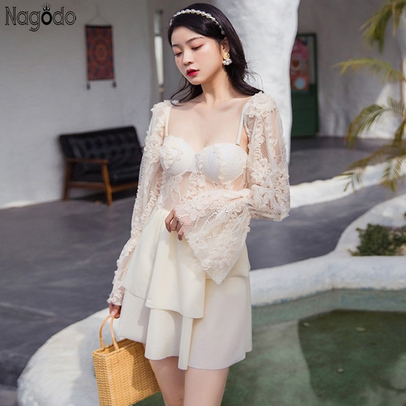 Nagodo Beige Lace Swimwear Women 2020 New Ins Holiday One Piece Swimsuit Long Flare Sleeve Beach Dress Bathing Suit Cover Ups
