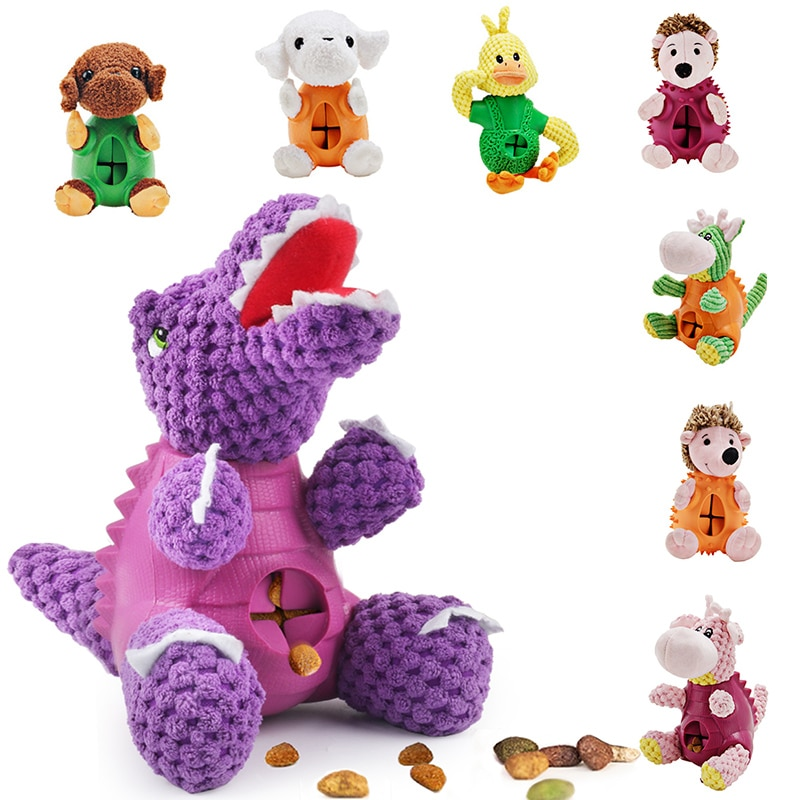 dinosaur animal series many chew toy Dog Toy Chew Dispenser Leakage Food Play Pet Dog Squeaking Toy Dinosaur Food Feeder Pet Dental Teething Training Toy 391345