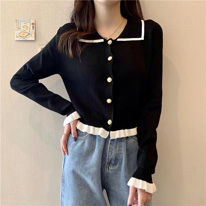 Zoki Chic Women Cardigan Sweater Fashion Single Breasted Loose Korean Long Sleeve Ruffles Soft Tops Knit Kawaii Black Sweater