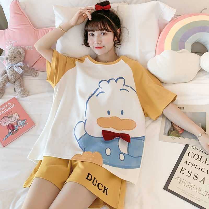 Pajamas Women's Summer Cute Duck 2021new Trending Popular Pure Cotton Short Sleeve Two-Piece Spring and Autumn Homewear Suit