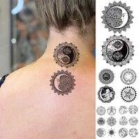 waterproof temporary tattoo sticker moon eye mandala henna flash tatoo woman black line body art arm fake tatto man cool things