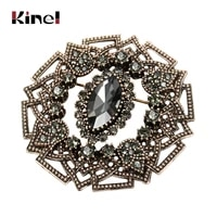 kinel vintage women gray crystal flower brooch pin turkish jewelry rhinestone brooches arabia paisley pattern lapel corsage 2020