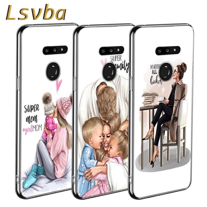 Bebé mamá chica estilo de impresión para LG W20 W10 V50S V50 V40 V30 K50S K40S K30 K20 Q60 Q8 Q7 Q6 G8 G7 G6 ThinQ teléfono caso