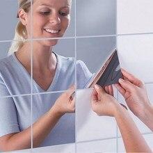 Autocollant mural miroir carrés de mode   16 pièces, autocollant mural autocollant imperméable, miroirs de Surface adhésifs, arrière-plan de télévision, cuisine salle de bains, décoration TP899