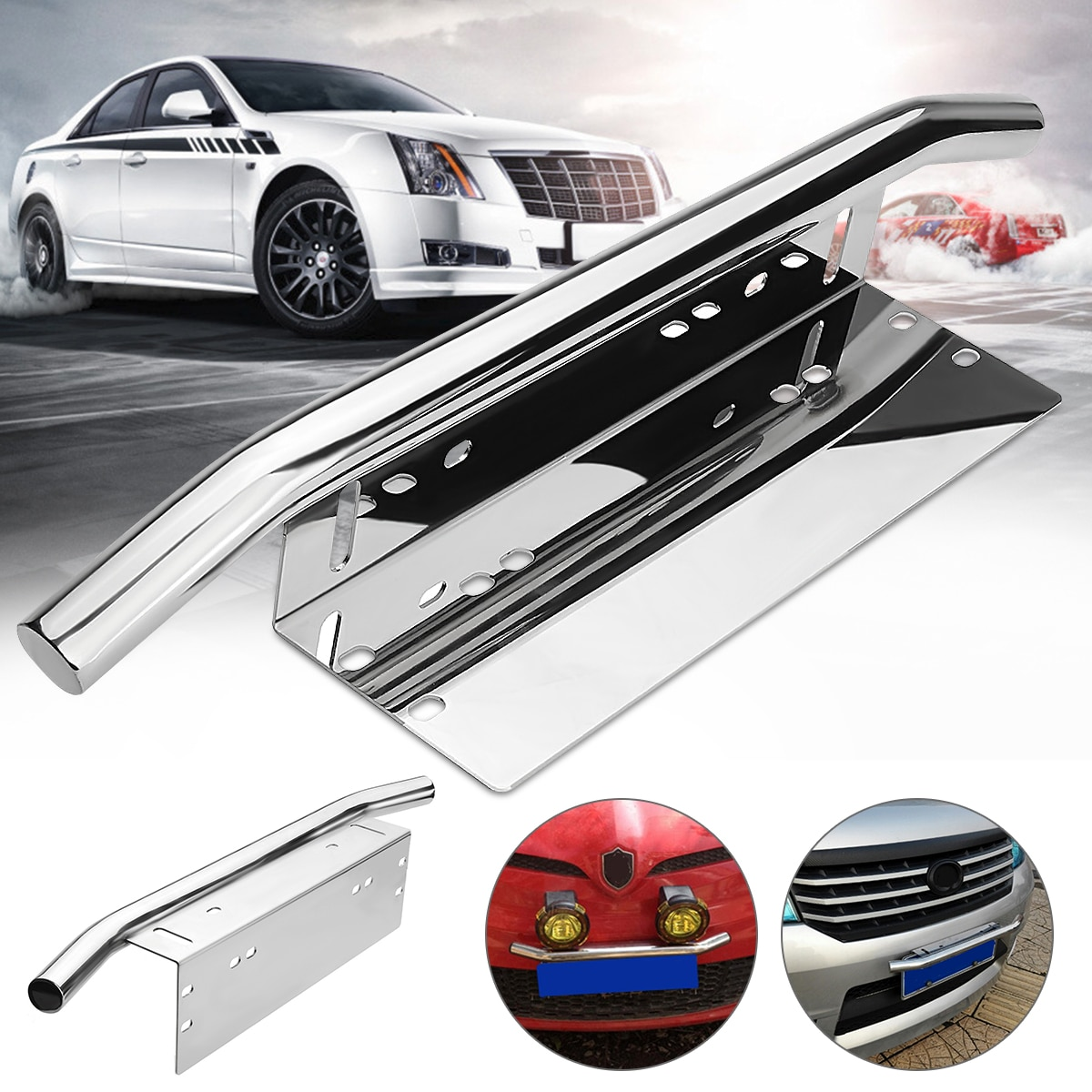 Silver Car Bull Bar Light Mounting Bracket Car License Plate Frame Holder Auto Front License Number Plate Light Bar Mount