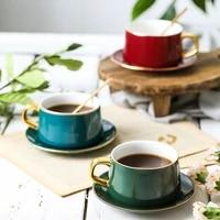 gold edge handgrip coffee mug espresso cups noble coffe cup esspresso cups ceramic tea mug cups and mugs tray spoon luxurious