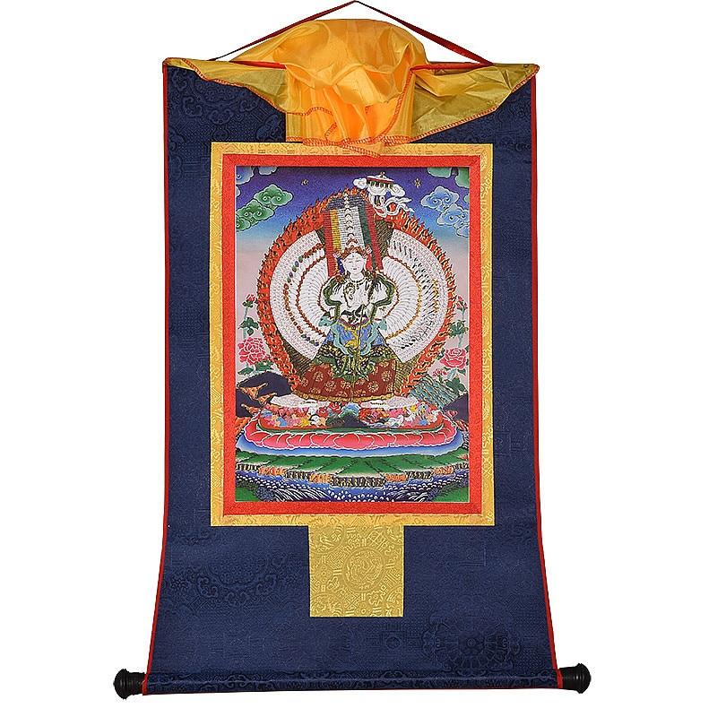 Imágenes decorativas de templo Ushnisha Sita Tapatra Buda dorado impreso Budista Tibetano colgante Thangka