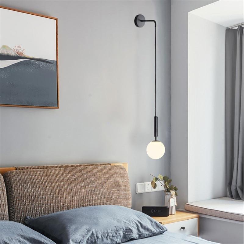 Lámpara de pared moderna de cristal, lámpara de pared escandinava, lámpara de lectura de cabecera, aplique redondo, luminaria de pared, luces Led nórdicas E27