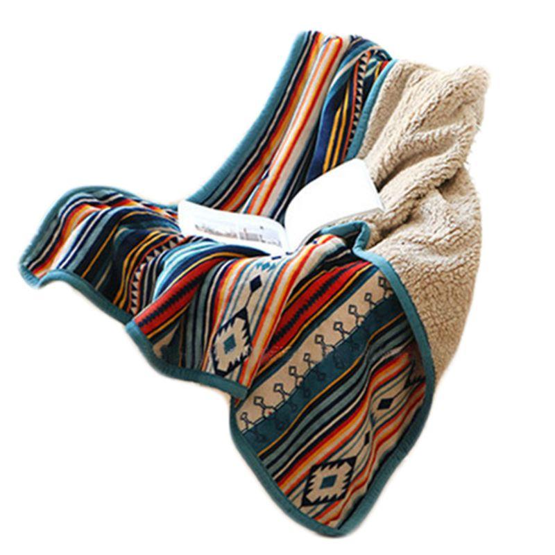 Invierno doble capa franela lana de imitación bohemio rayas coloridas Manta