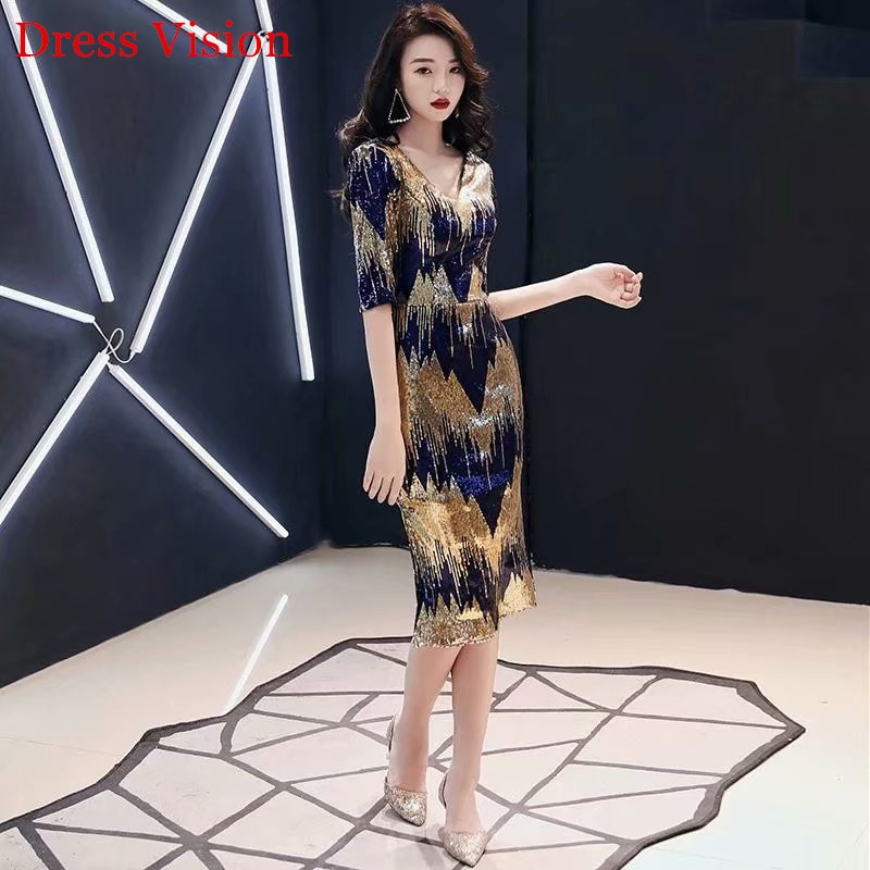 فستان سهرة مطرزة ، نصف كم ، ياقة على شكل v ، عرض خاص