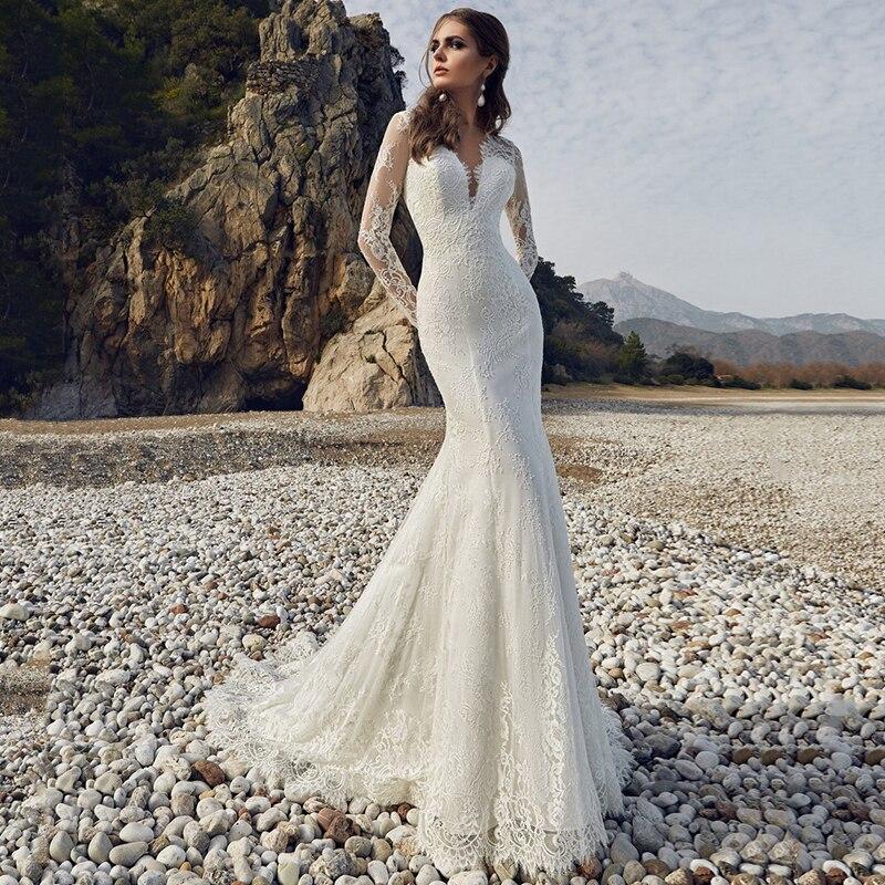 9610 # Lace حورية البحر فساتين الزفاف 2021 أنيقة على شكل حرف v زين سويب تراين كم طويل فساتين زفاف بدون ظهر
