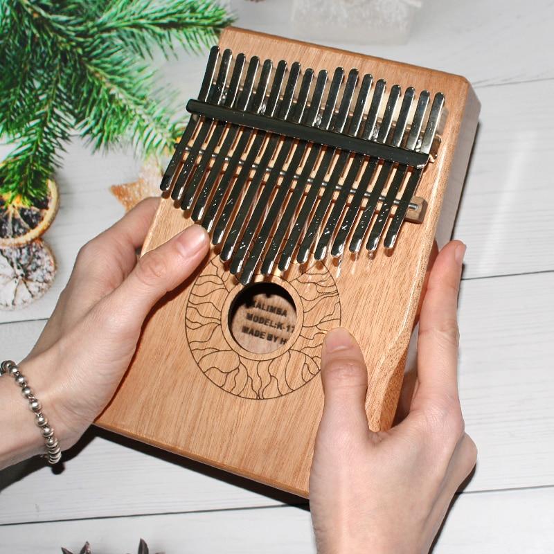 Kalimba 17 Key Finger Piano Portable High Quality Mahogany Wooden Thumb Piano Lightweight Musical Instrument Great Sound Piano