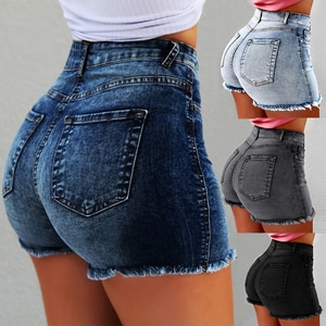 202 Summer New Ladies Ripped Jeans Sexy Slim Slim High Waist Commuter Tassel Pants Women Denim Shorts Pants WS47
