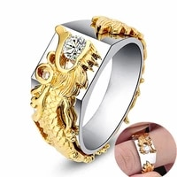 new trendy golden dragon pattern ring mens ring austrian rhinestone inlaid ring panlong ring accessories party jewelry