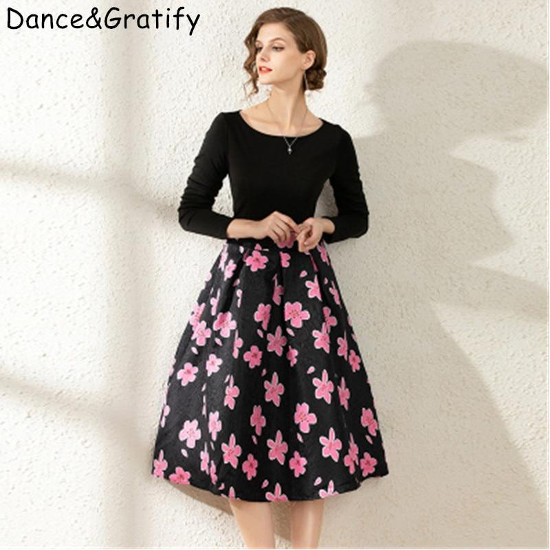 New 2020 Women Spring Summer Print Mid-calf Runway Dress Fashion Vintage Jacquard Patchwork Black Party Dresses