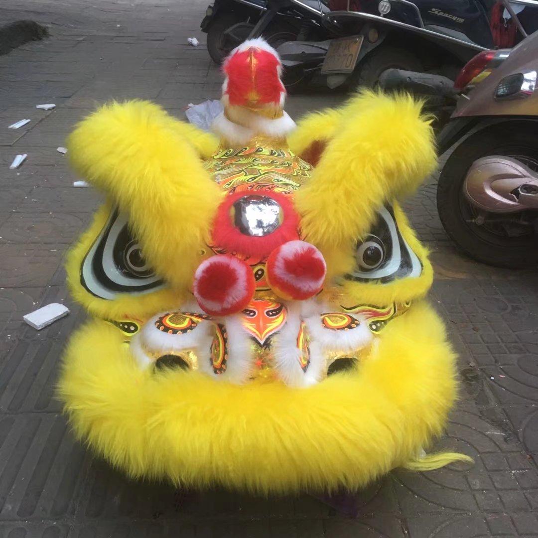 2019 Foshan lana Hoksa León danza disfraces de mascota lana arte folclórico chino León del sur dos adultos disfraces Cosplay publicidad