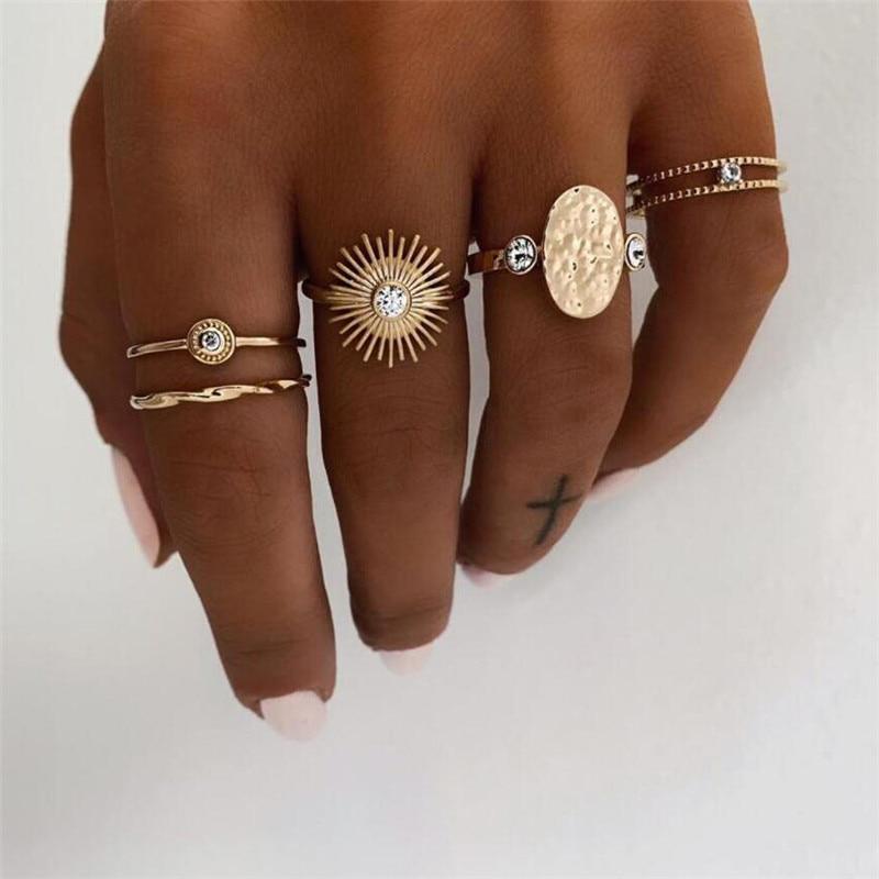 ZORCVENS 5pcs/set Gold Color Punk Vintage Sunflower Crystal Wedding Ring Set for Woman