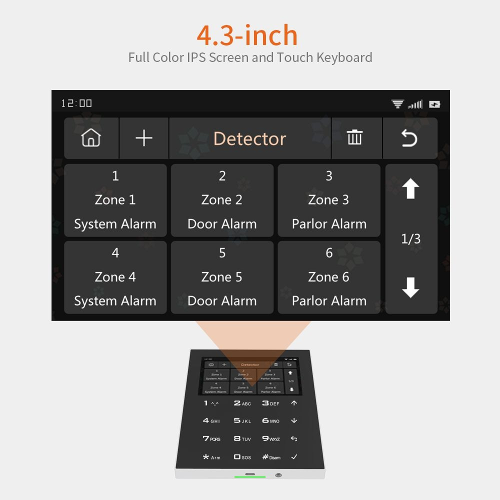 Staniot C500 TUYA Wireless WIFI GSM Smart House Burglar Alarm System Kits with TFT Touch Keyboard and 4.3 Inch Display Screen enlarge