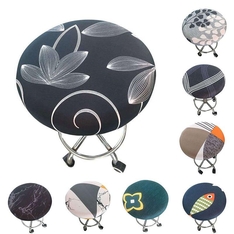Capa de cadeira redonda impressa floral nova barra de fezes capa de assento elástica para casa cadeira slipcover cadeira redonda tamborete de barra por atacado