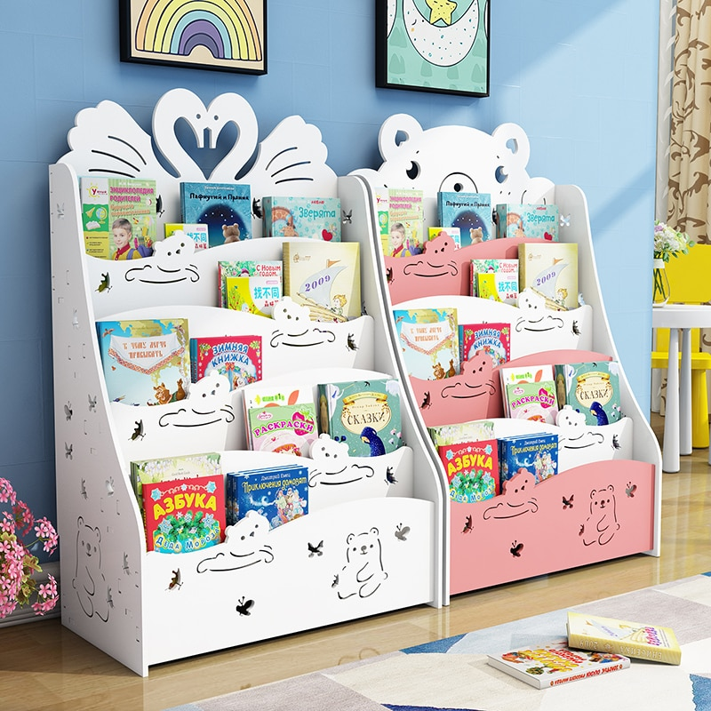 Children's Bookshelf on The Ground Simple Shelf Economic Student Bookcase Kindergarten Children's Picture Book Shelf