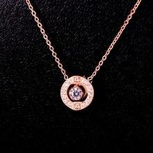 Paslanmaz çelik yuvarlak kolye kolye çift romantik hareket kristal zirkon kalp atışı kolye kadın düğün takısı hediye