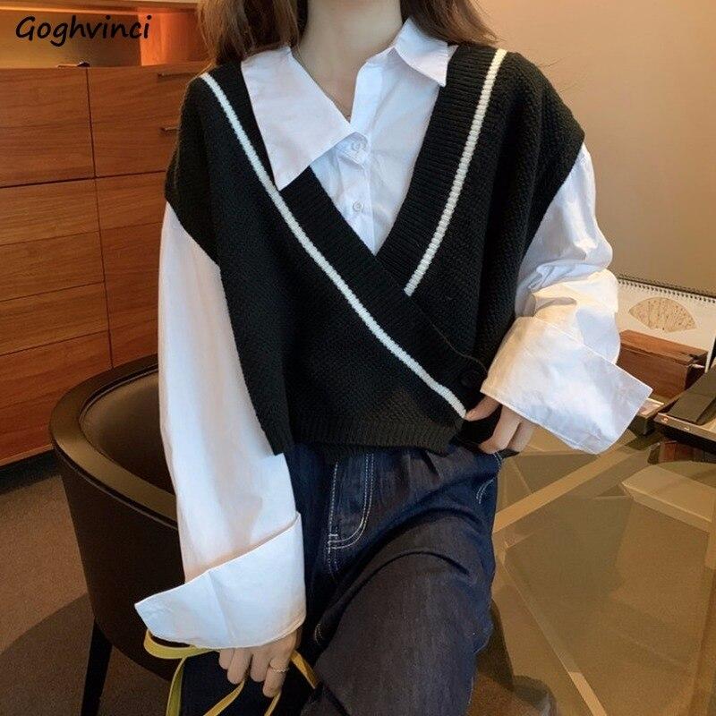 Женский свитер жилет с V образным вырезом и одной пуговицей