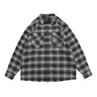 2021 Men\'s and Women\'s Fashion All-match Trend Casual Shirts Flannel Classic Plaid Handmade Hem Destruction High Street Shirt