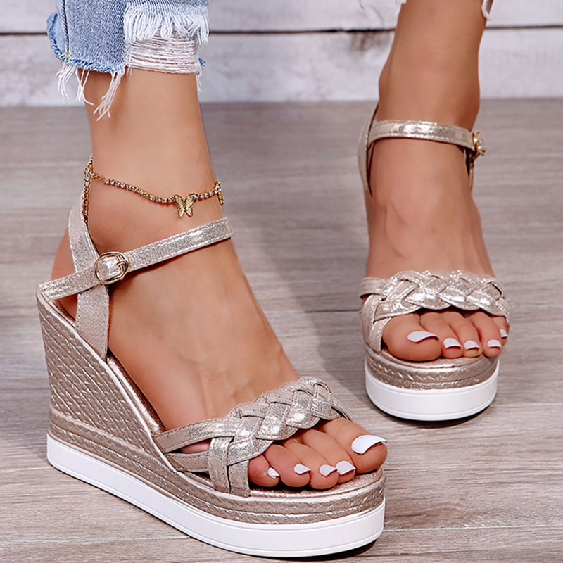 Sandalias De Plataforma con cuña para Mujer, Zapatos De punta abierta, tejidos...