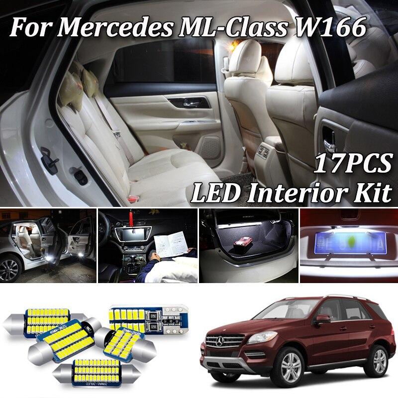 17 Uds Error Free LED luz de techo interior lámpara paquete Kit para Mercedes Benz clase ML W166 ML320 ML350 ML550 (2012-2015)