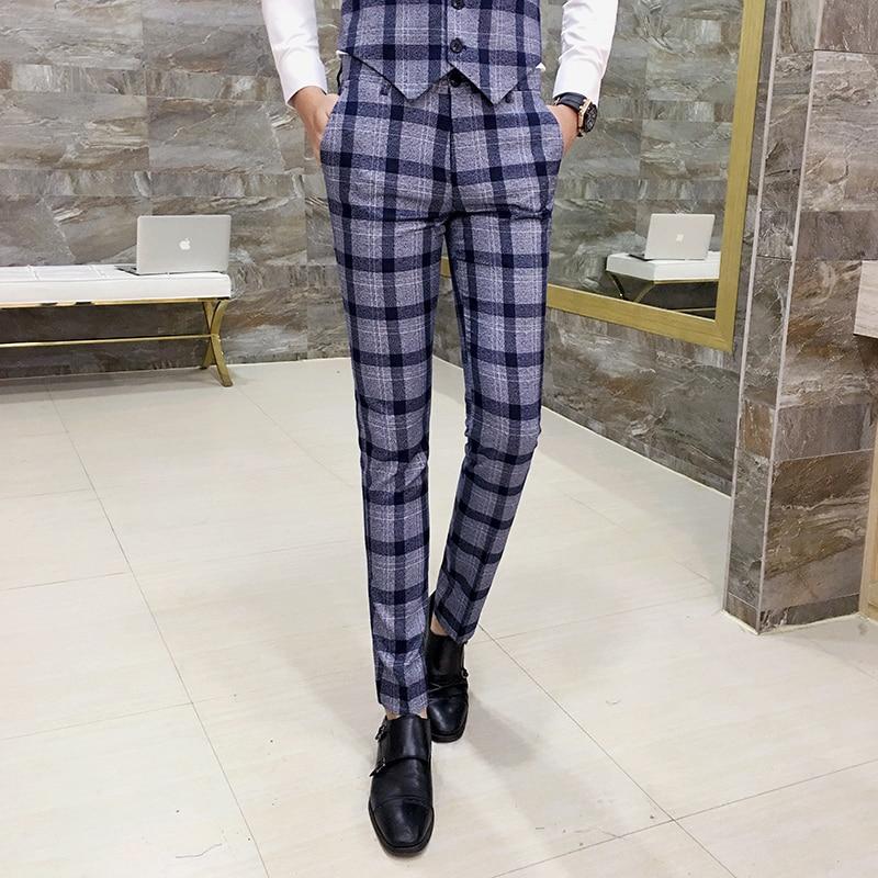 Pantalones de cuadros para hombre, pantalones entallados de oficina para hombre, pantalón Formal a cuadros, pantalón Casual para hombre