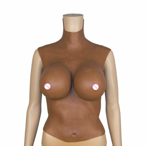 Crossdresser African Skin Big Cup Silicone Prosthetic Milk Exquisite Soft Realistic Fake Breast Plus Size Women Chest Lifter