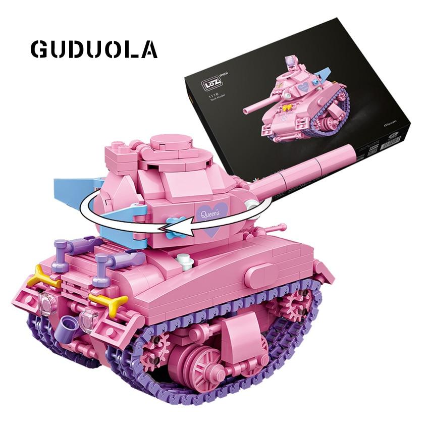 LOZ Tank Model Toys Building Block Car Model Color Pink 455PCS DIY Assembly Model Puzzly Toys Brciks in Blocks Chinldren Gift