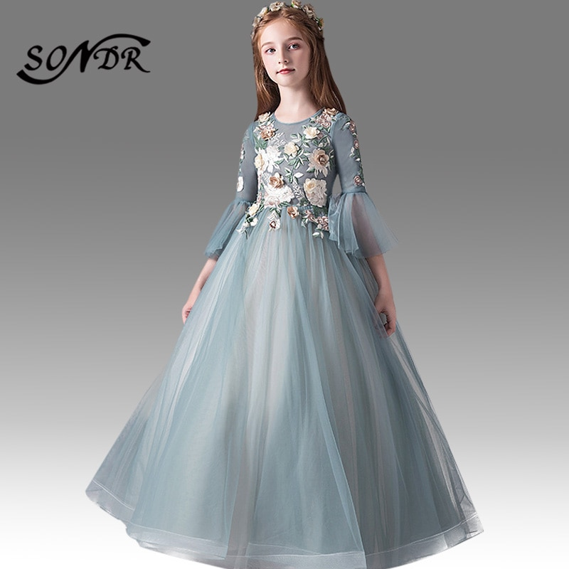 Green Flower Girl Dresses HT136 Appliques Embroidery Lace Ball Gowns Long Flare Sleeve O-neck Girls Dress