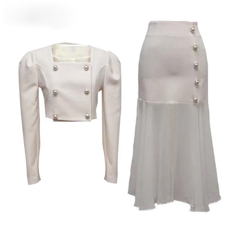 Conjunto de dos piezas de oficina para Mujer, Tops cortos con cuello...
