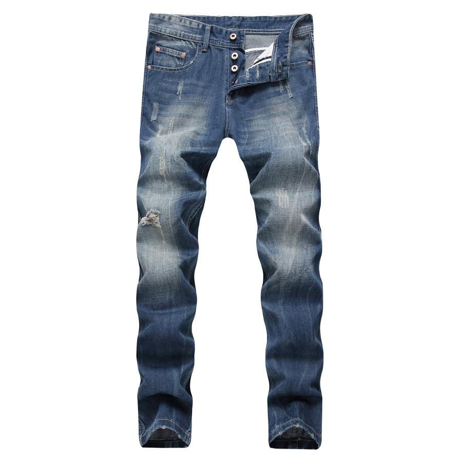 Fashion Jeans Men High Quality Slim Jeans Mens Denim Boyfriend Pants Spring Autumn Straight Biker Blue Trousers Jean