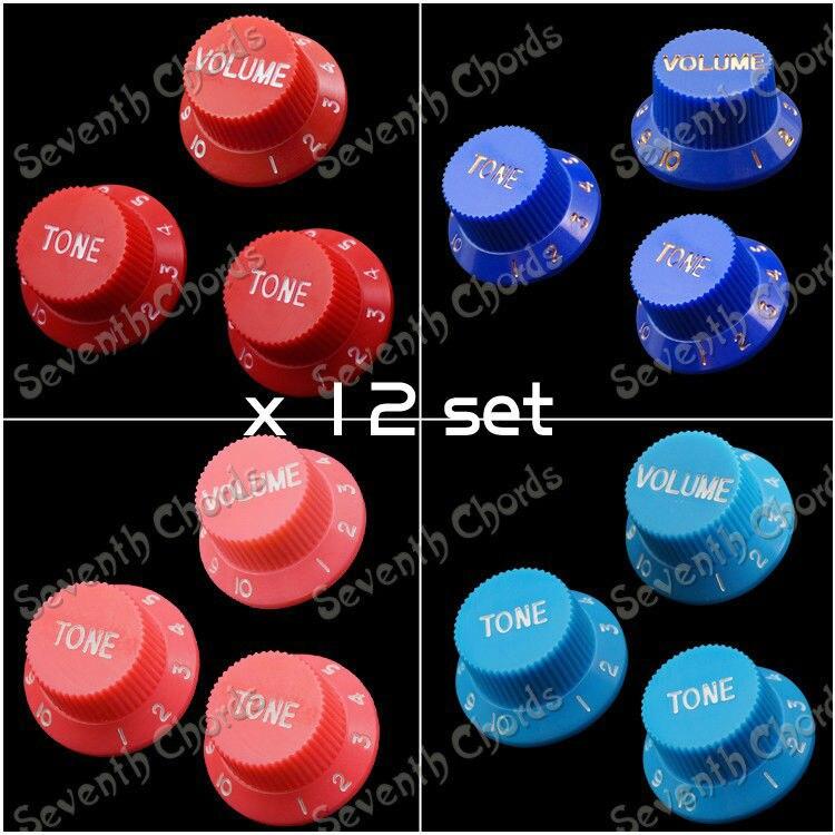 12 Set (1 volumen y 2 tonos) perillas de Control de velocidad de bajo de plástico para guitarra eléctrica/mando del potenciómetro de guitarra tapa de botón (4 colores a elegir)