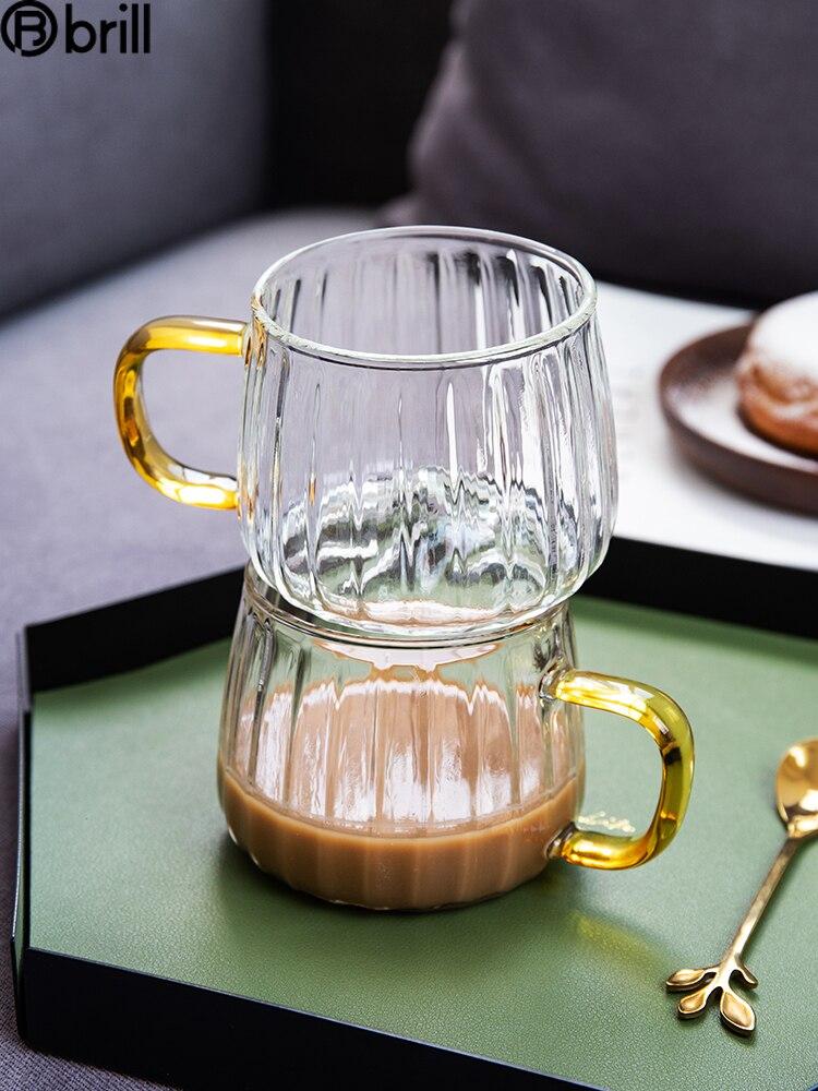 Taza De vidrio De estilo nórdico para agua, vaso redondo transparente con...