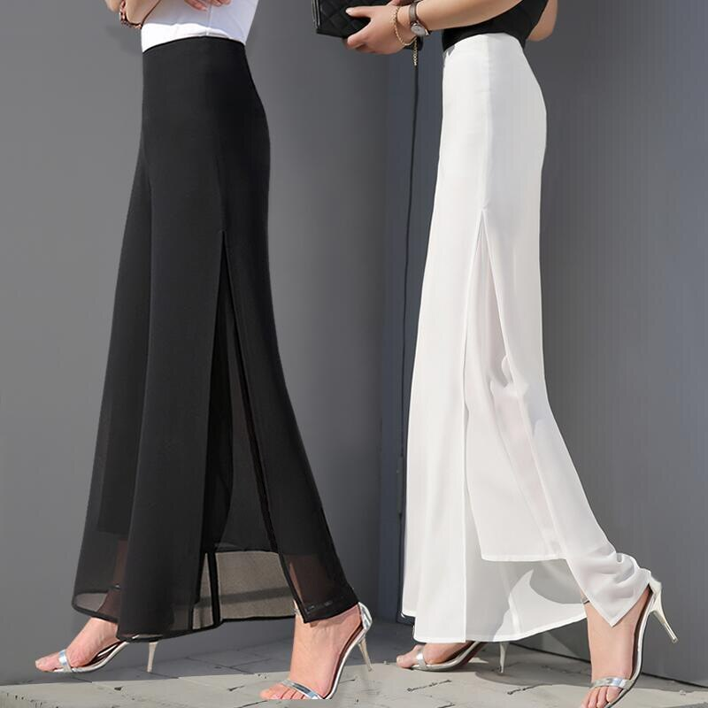 2020, pantalones de gasa de cintura alta, falda L, pantalones de gasa sueltos informales Shuai Ku, Pantalones rectos con corte, pantalones de pierna ancha para mujer